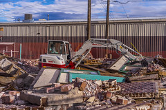 _DSC3865 (Simply Angle) Tags: wood city tractor building brick demolish outdoors town washington sony equipment business damage torn resturant damaged demolished a7 takeuchi a7ii chewelahwa sonyphotographing sonyphotography tb260 sonya7ii ilce7m2 sel50f18f demaging