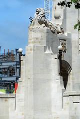 The lion Symbol of the British Empire (Jocey K) Tags: newzealand christchurch sky architecture buildings crane lion rebuild bridgeofremembrance