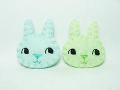 Super tiny pastel bunnies felt pins (hanaletters) Tags: rabbit bunny colors glasses pin with handmade pastel brooch jewelry felt etsy hanaletters