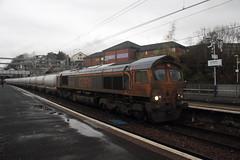 66735 Springburn, near Glasgow (Paul Emma) Tags: uk railroad train scotland glasgow railway locomotive springburn class66 diesellocomotive dieseltrain gbrf 66735 6e45