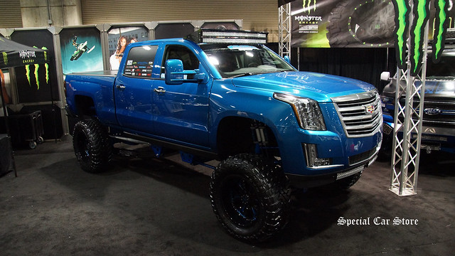 laautoshow bulletproofsuspension aftermarketshowcase customcadillacpickup