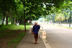 (Johanes Tarigan) Tags: street old man hat composition canon lens dead photography eos 50mm prime countryside walk cigarette center boring ii end fixed f18 ef sandal 40d