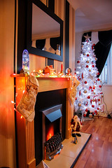 It's begining to look a lot like Christmas (DaveMcHaleLiverpool) Tags: christmas stockings fire lights christmastree christmaslights merrychristmas