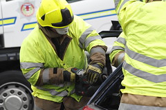 Incident training (Szmytke) Tags: rescue training fire scotland saw accident scottish police gear ambulance cutting turriff haughs