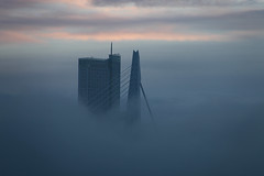 holland netherlands fog rotterdam skyscrapers foggy thenetherlands