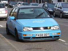 Don't tell the farmer (stevenbrandist) Tags: blue golf volkswagen leicestershire badge modified aa mountsorrel hayburner p458odt bladeandquill