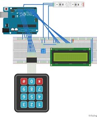 """Passcode Lock Breadboard Diagram • <a style=""""font-size:0.8em;"""" href=""""http://www.flickr.com/photos/61091961@N06/15741877837/"""" target=""""_blank"""">View on Flickr</a>"""