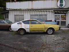 Mitsubishi Lancer Celeste and Galant Coupe FTO (mega_midget_racer) Tags: cars abandoned car drive  touring rustycars