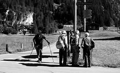 Lost Travelers (@GamezFrank) Tags: road blackandwhite men monochrome walking mono switzerland blackwhite hiking path swiss group trails hike trail kandersteg bern hikers grayscale berne travelers greyscale oldmen eggenschwand