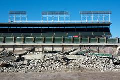 Bleacher Demolition (Andy Marfia) Tags: chicago demo iso200 baseball stadium demolition cubs wrigleyfield bleachers lakeview f8 ballpark wrigleyville 1800sec d7100 1685mm