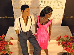 Christmas party (Deejay Bafaroy) Tags: christmas xmas pink red party portrait orange brown white black male rot fashion toys couple doll dolls power dress paar barbie rosa portrt smoking clothes le reid makeda braun staying adele fr weiss schwarz royalty diorama homme puppe puppen prchen integrity darius fr2 jasonwu