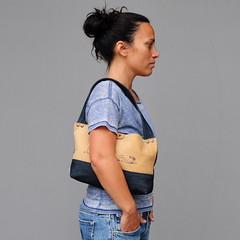 Handmade handbag/purse (pini piru) Tags: blue brown leather bag screenprint handmade purse handbag upholstery rawedge jeansfabric pinipiru koutkunstje