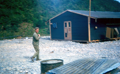 388th-ROK52-Soldier&ConstructedBuilding (ArgyleMJH) Tags: color soldier korea photographs pipeline engineer usarmy 1952 koreanwar bullding armyengineers 388th 388thengineerpipelinecompany