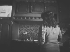 mom cooking <3 (mariaficherry) Tags: bw kitchen mom blackwhite
