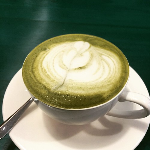Genmaicha latte is really strong with hints of roasted brown rice. 💚👍