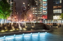 Columbus Circle and 8th Avenue (DSC06568) (Michael.Lee.Pics.NYC) Tags: longexposure newyork fountain architecture night sony columbuscircle worldwideplaza 8thavenue lighttrail traffictrail voigtlandernoktonclassic35mm14sc a7rm2