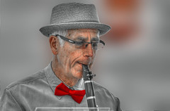 The Musician (swong95765) Tags: musician man hat glasses wind bokeh band tie bowtie entertainment elderly bow elder instrument clarinet