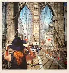 (Majka Kmecova) Tags: city nyc bridge people woman usa ny photography us photo manhattan brooklynbridge