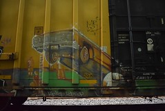 Car (TheGraffitiHunters) Tags: street red white black art car train silver graffiti colorful paint ride box tracks spray boxcar cym chale pimp freight benched benching