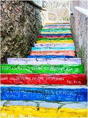 Coloured steps Ribadesella Asturias Spain (kevingrieve610) Tags: art ribadesella asturias spain outdoor pavement wow flickr street road fujifilm depth graffiti graffito