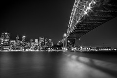 Bridge in Black (K Michael F C) Tags: longexposure bridge blackandwhite bw white black water night contrast boats blackwhite long exposure harbour sydney australia highkey shb