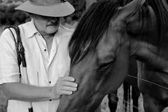 Insight of the Cattleman (Ashton Edgley) Tags: two horse white black beauty hat one dad time space magic captured calm together harmony feeling moment understanding connection vibe