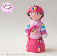 Doljanchi Hanbok Cake Topper (SugarSweetCakes (Angela)) Tags: korean hanbok caketopper firstbirthday figurine keepsake dol gumpaste doljanchi gumpastefigurine