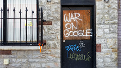 War on Google (real00) Tags: city urban abstract geometric facade landscape graffiti google closed pittsburgh pennsylvania stonework protest storefront outofbusiness urbanlandscape westernpennsylvania 2000s 2016 alleghenycounty 2010s pittsburghregion willreal williamreal stripdistrictpittsburghpa