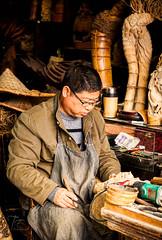 Local carver in Wuzhen (FineArt2C) Tags: china people photography carver craftsman wuzhenwatertown trishedwardsphotographerdigitalartist