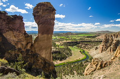 Now what? (Tom Fenske Photography) Tags: statepark summer sky mountains nature rock oregon landscape outdoors bend climbing wilderness smithrock crookedriver monkeyface