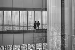 Enjoying the view  (Alpha 2008) Tags: people blackandwhite white black building silhouette japan skyscraper view sony  observationplatform  osaka alpha abeno       harukas       abenoharukas