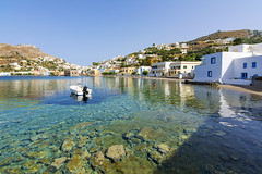 Leros Island, Greece (Nejdet Duzen) Tags: travel blue sea summer vacation sky white house color building beach windmill architecture marina landscape boats island greek bay harbor fishing holidays europe mediterranean village view place aegean rocky landmark greece destination colored idyll picturesque idyllic leros dodecanese agia