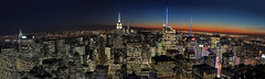 The Possibility of New York City (gimmeocean) Tags: nyc newyorkcity sunset panorama ny newyork manhattan pano empirestatebuilding topoftherock