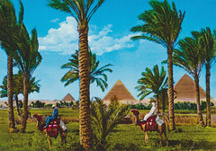 The Giza Pyramids (Goran Patlejch) Tags: africa people sun holiday tourism composite palms ruins desert northafrica postcard egypt kitsch tourists palmtrees destination colored pyramids camels giza riders arabs oazis patlejch gntx goenetix patlejh