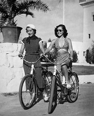 Bikers of yesteryear (goldtrout) Tags: ca postcard palmsprings elmirador paulettegoddard luna16
