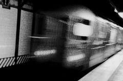1 Train, Times Square (Frankenstein) Tags: nyc newyorkcity blackandwhite bw monochrome subway square blackwhite midtown bands timessquare times irt iphoneography slowshuttespeed