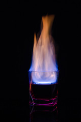 Gin and... - Explore December 1/14 (Katherine Ridgley) Tags: red reflection glass bar fire drink burning flame liquor reflect burn alcohol gin liquid barware