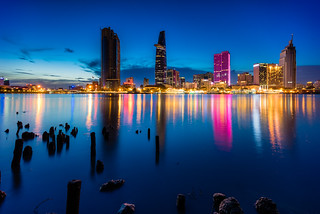 Sai Gon river in the blue hour