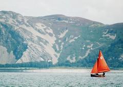Follow the red 13 (I) (p2-r2) Tags: uk red sea water wales island boat nikon sailing north cliffs puffin beaumaris v1 anglesey nikon55200mmvr