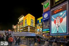 glico crowd at dotonbori japan (pixelwhip) Tags: man sign japan night canon advertising long exposure neon ad tourist short osaka f4 hdr attraction tse glico 17mm dotonburi 5d3