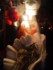 Experimenting for Shrine Project 71 (The People In My Head) Tags: skull shrine mess candles sage altar seashell gasmask gin fairylights incense redchair whitesage paganaltar wiccanaltar indianthrow thepeopleinmyhead lizjamesart lizfroudart greenmarkgin asamblagearthoarding