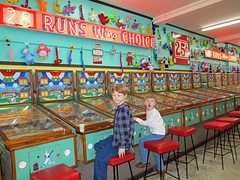 at the Arcade for Christmas (babyfella2007) Tags: christmas plaza old family boy red signs playing jason beach sc face vintage ball carson fun funny neon pin child baseball grant south arcade waldorf young michelle games taylor carolina pinball myrtle americana beaufort 2014 batesburg