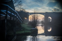 Sunrise & Reflections (Ollie Smith Photography) Tags: bridge trees winter sky sun nature water silhouette clouds sunrise reflections nikon cheshire earlymorning lightroom runcorn 2015 janurary riverweaver frodsham 1685mm