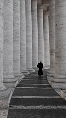 The priest walk (Leon Sammartino) Tags: old bw italy vatican walking columns fujifilm priest x10