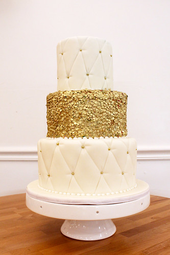 Quilted Texture Wedding Cake With Gold Sequins