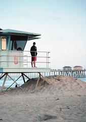 On watch (S-Roth) Tags: life california sunset film beach analog mediumformat pier sand kodak united huntington guard scan states portra mamiyarb67prosd epsonv600