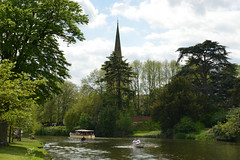 Stratford on Avon (Colin McLurg) Tags: uk trees england rural river boat shakespeare steeple ripples avon waterway stratfordonavon pleasurecraft rowingboat cabincruiser colinmclurg
