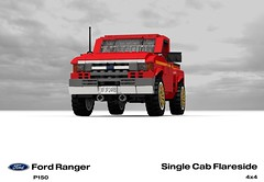 Ford P150 Ranger Flareside SingleCab Pickup (lego911) Tags: auto usa ford car america truck team model ranger lego offroad render 1996 4wd utility pickup ute 1990s cad v6 povray moc ldd p150 miniland flareside lego911