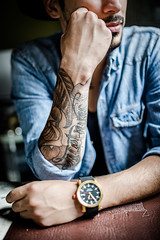 Fashion Detail (Giulio A. D'Angelo) Tags: light boy portrait sunlight men guy luz fashion tattoo 35mm cafe nice nikon shadows arms natural retrato 14 moda reloj chico tatoo coffe sombras ropa hombre whatch d600 rokinon