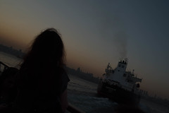 IST-1169 Sunset Bosphorus (rose.vandepitte) Tags: sunset colors girl ferry turkey istanbul bosphorus evenin